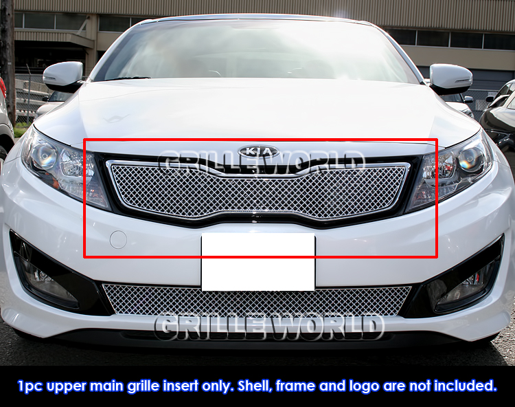 fits 2011 2013 kia optima hybrid sx ex turbo stainless chrome x mesh grille ebay. Black Bedroom Furniture Sets. Home Design Ideas