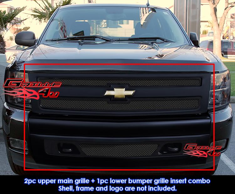 Fits Chevy Silverado 1500 Black Mesh Grille Combo 07-10 ...