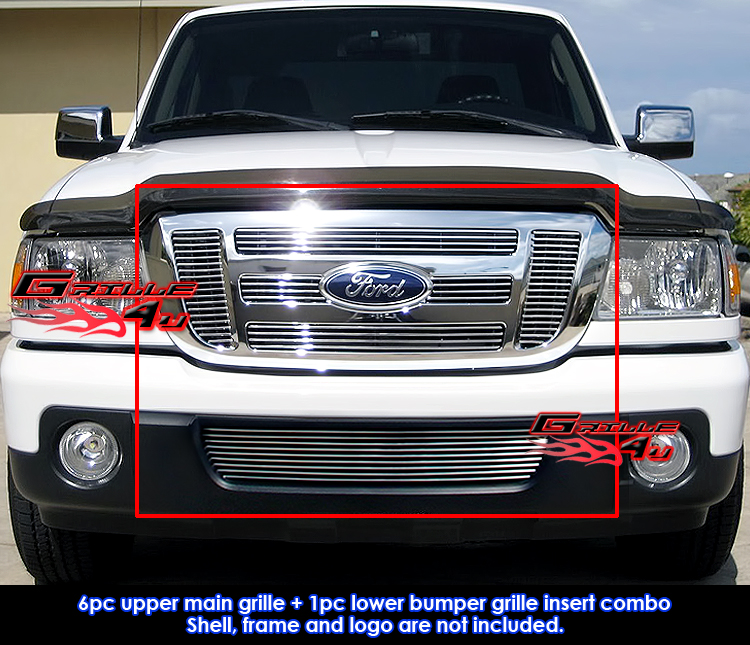 Fits 2006-2011 Ford Ranger FX4//XL//XLT Stainless Steel Black Billet Grille Combo