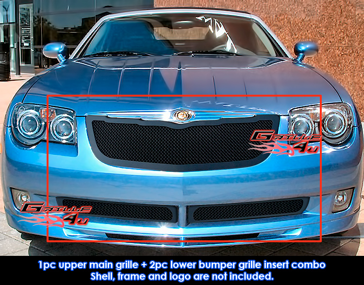 Fits Chrysler Crossfire Black Mesh Grille Combo 04-08 637230819098 ...