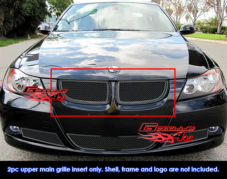 Fits BMW II Black Stainless Steel Mesh Grille - 2007 bmw 330i