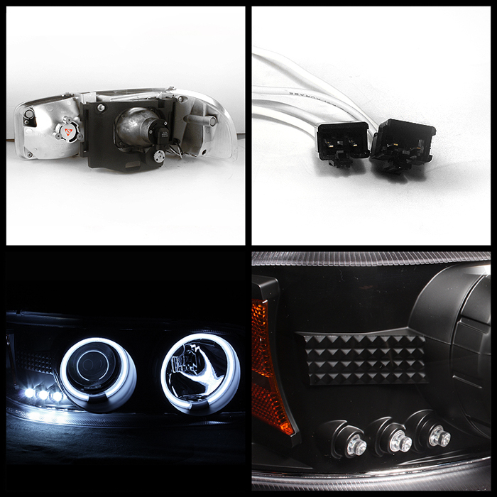 99 06 GMC Yukon Sierra Denali CCFL Halo Projector LED Black Headlights Lamps