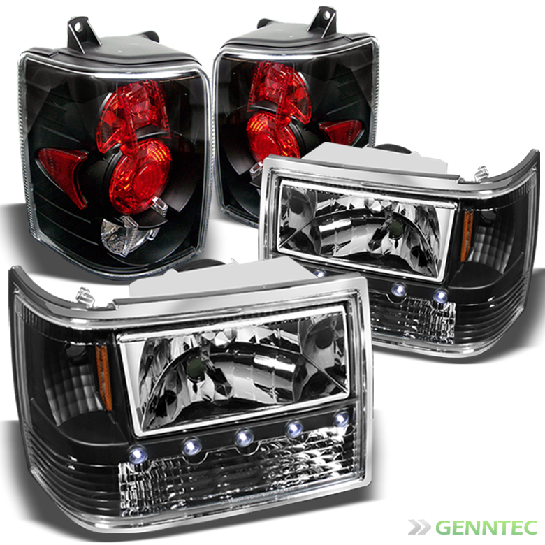 Details About For 93 98 Jeep Grand Cherokee LED Headlights Tail Lights Lamp New Replace