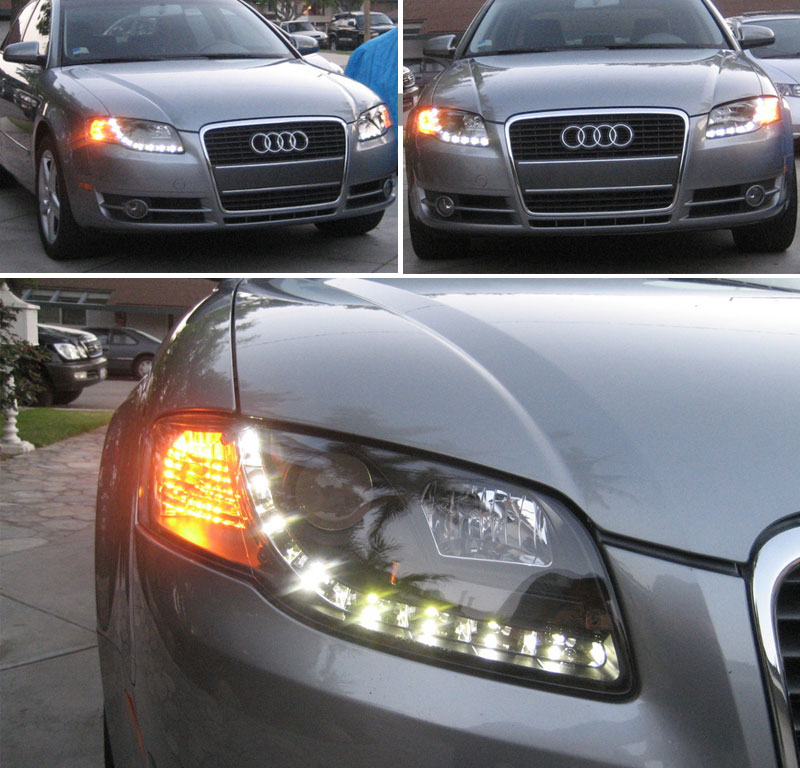 06 08 Audi A4 S4 B7 DRL LED Projector Headlights LED Tail Head