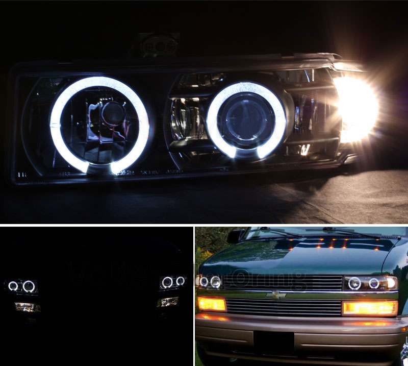 Led Replacement Headlight Bulbs >> 95-05 Chevy Astro Van / GMC Safari Halo Projector ...