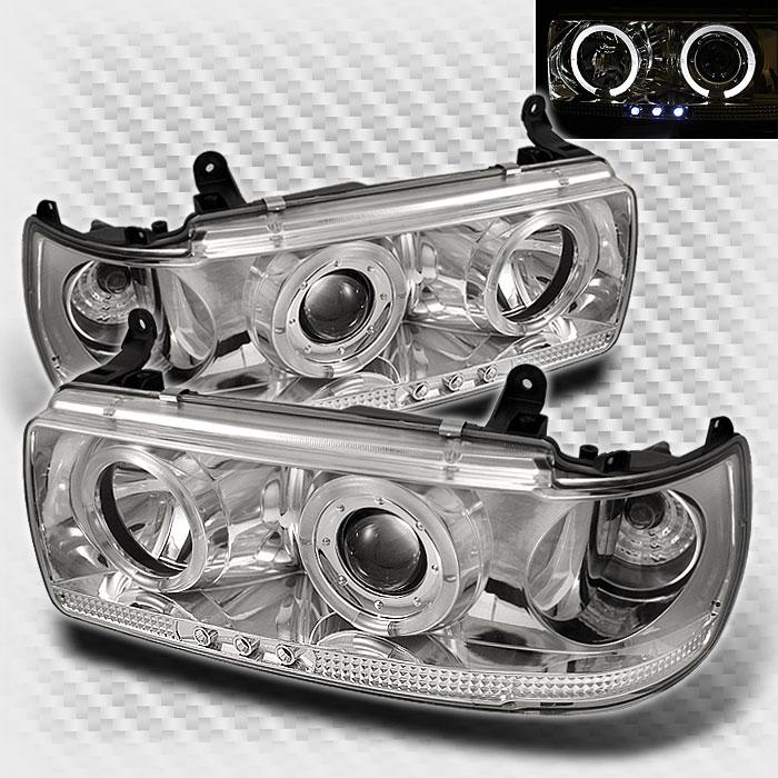 1991 1997 Toyota Land Cruiser Dual Halo LED Projector Headlights Set Head Lights