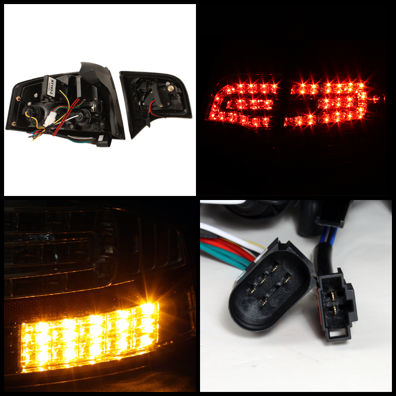 For 2005-2008 Audi A4 S4 B7 Black LED Tail Lights Lamp