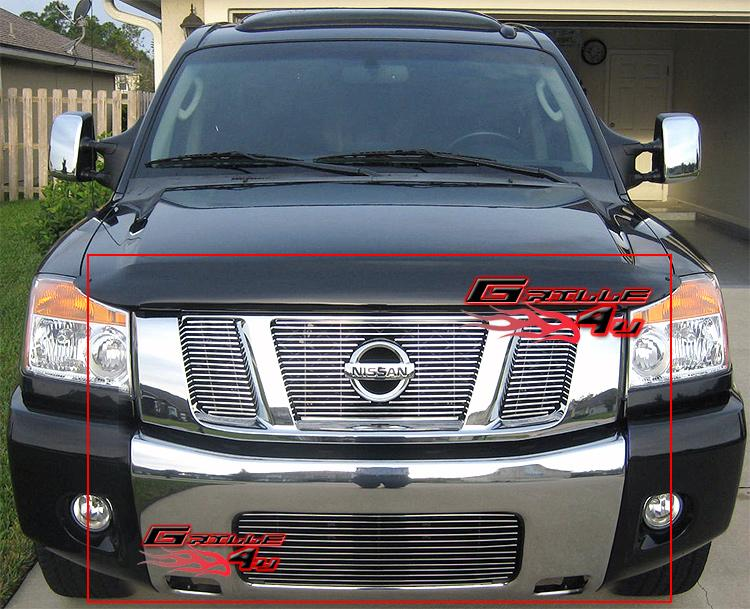 Fits 2008-2014 Nissan Titan Stainless Steel Grille Grill Combo
