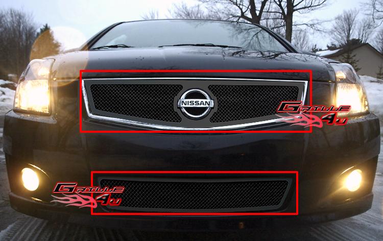Fits 2007 2010 Nissan Sentra Se R Black Mesh Grille Combo Ebay