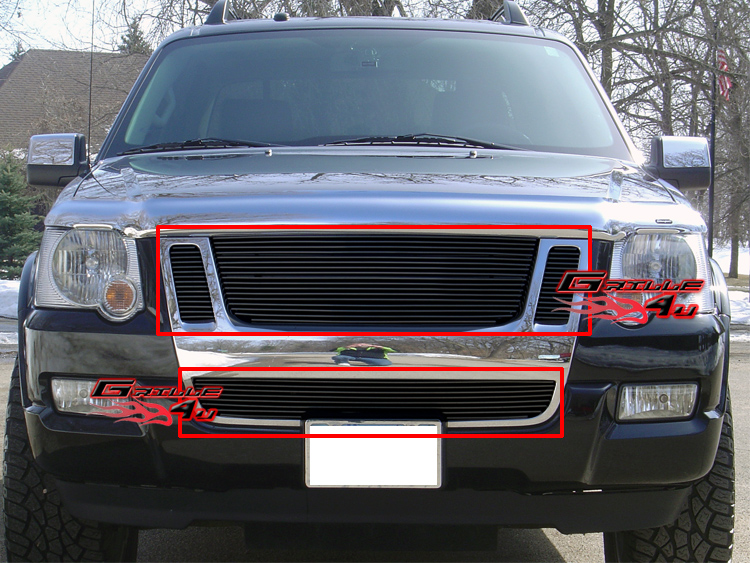 fits 07 10 ford explorer sport trac billet grille combo. Black Bedroom Furniture Sets. Home Design Ideas
