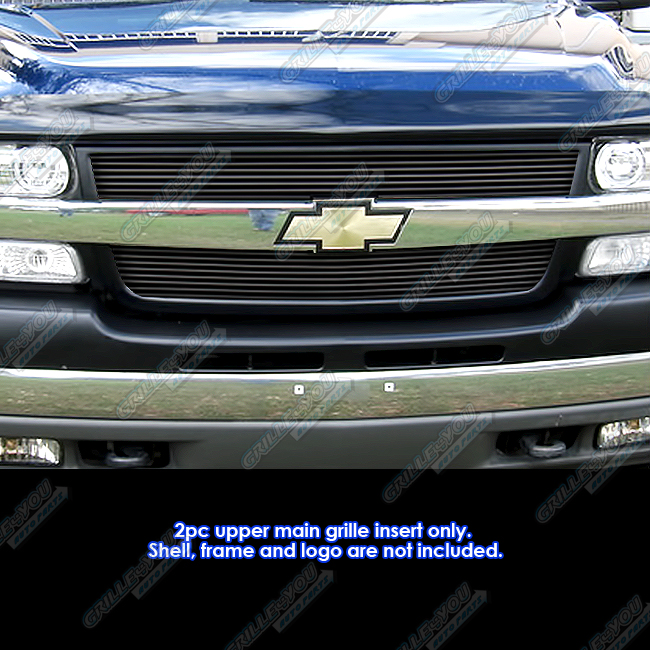 Fits 2001 2002 Chevy Silverado 2500 3500 Black Billet Grille Grill Insert Ebay