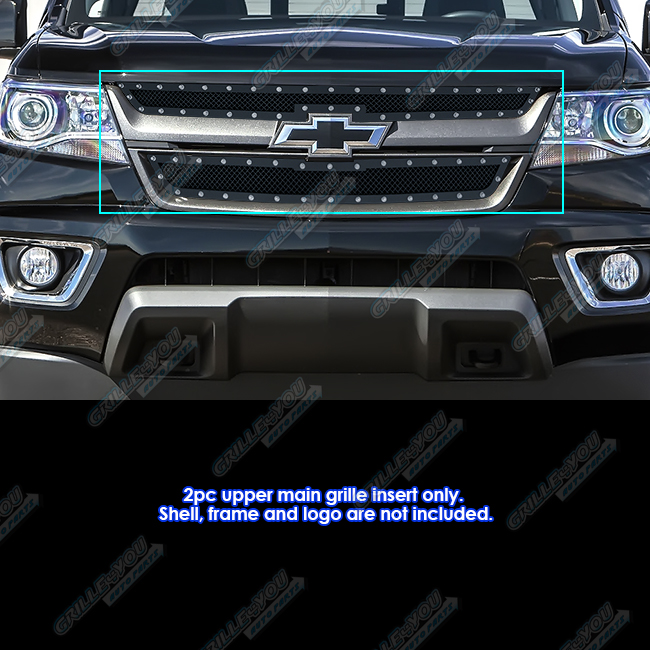 fits 2015 2018 chevy colorado stainless steel black rivet mesh grille ebay. Black Bedroom Furniture Sets. Home Design Ideas