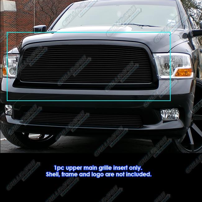 Fits 2009 2012 Dodge Ram 1500 Pickup Black Billet Grille