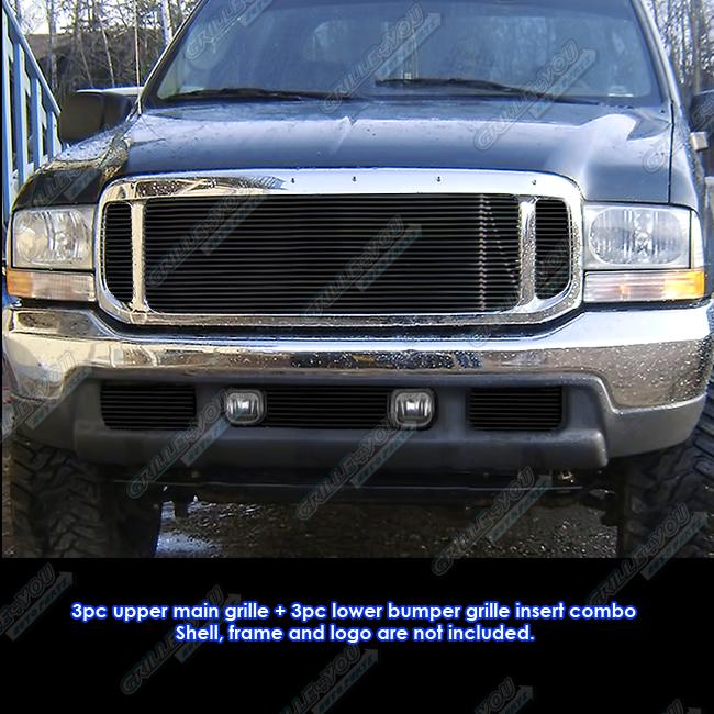 Fits 1999 2004 Ford F250 F350 2000 04 Excursion Black Billet Grille Combo Insert Ebay