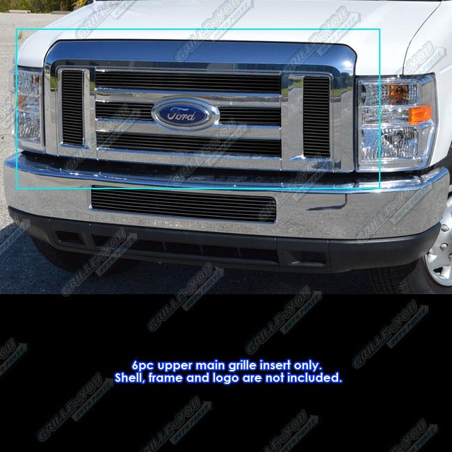 Details about For 2008-2013 Ford Econoline Van/ E Series Black Billet  Grille Inserts