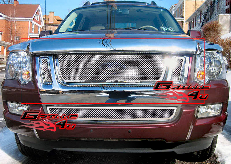fits 07 10 ford explorer sport trac stainless mesh grille. Black Bedroom Furniture Sets. Home Design Ideas