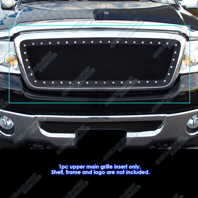 fits 2004 2008 ford f 150 rivet black stainless steel mesh grille grill insert ebay. Black Bedroom Furniture Sets. Home Design Ideas