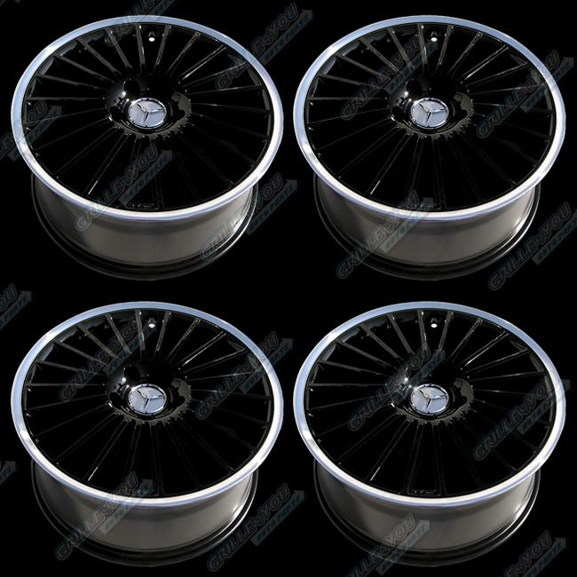Mercedes Benz Black Machined Lip Wheels 18x8 5 Rims w Central Cap Logo