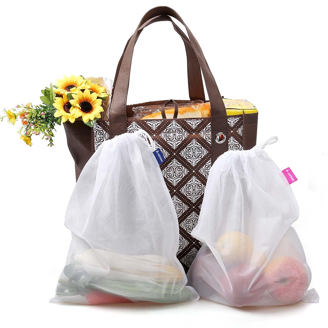avery barn 10pc grommet reinforced reusable grocery shopping produce bag set ebay. Black Bedroom Furniture Sets. Home Design Ideas