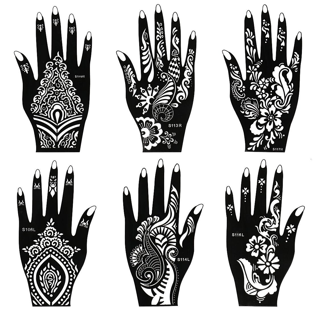 Henna Tattoo Stencils: BMC 8pc Mehndi Henna Tattoo Body Part Kit