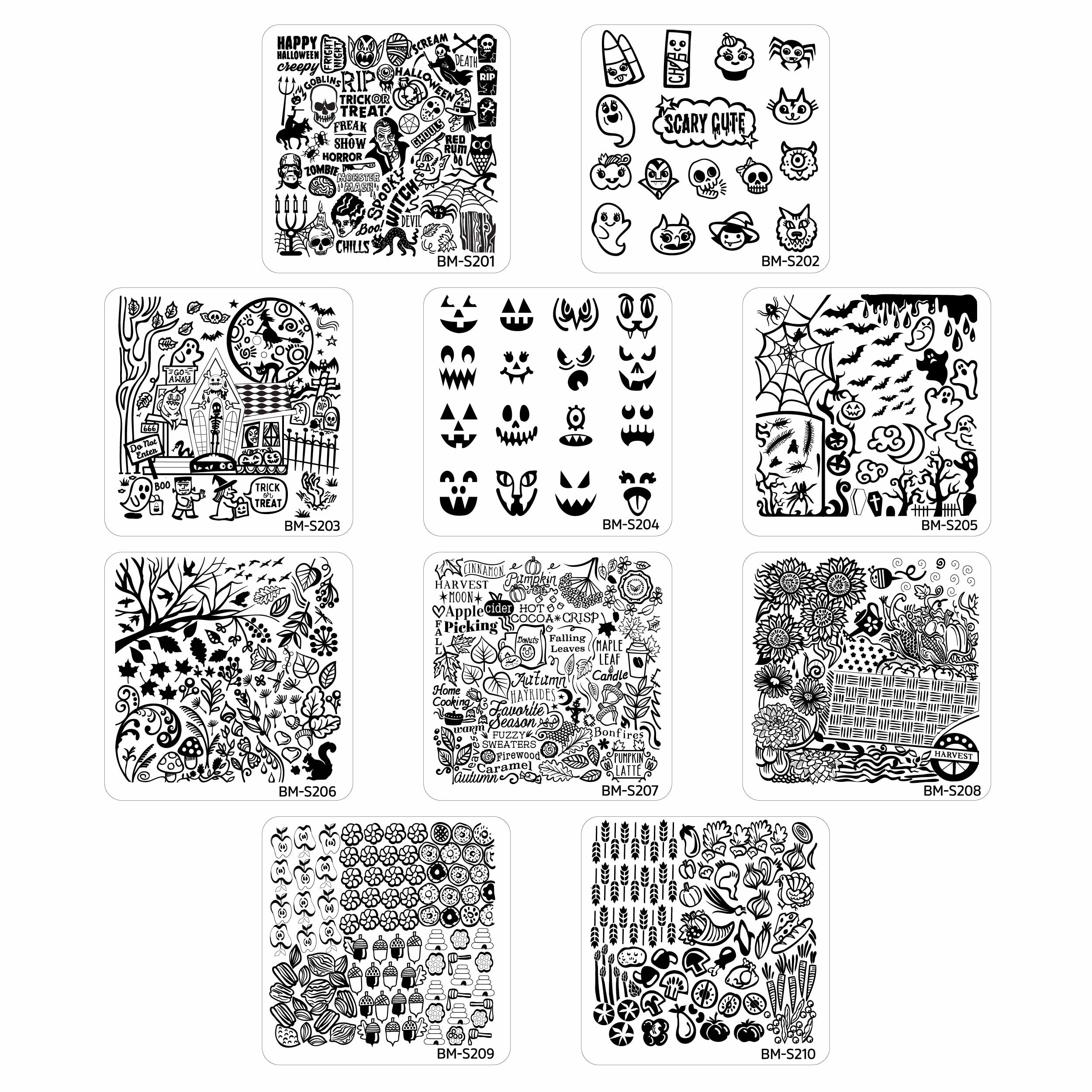 Bundle Monster 10pc Occasions Nail Art Stamping Plates