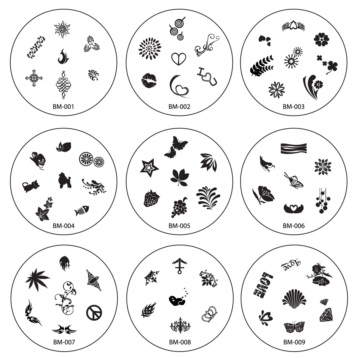 Bundle Monster Nail Art Polish Stamping Image Plates