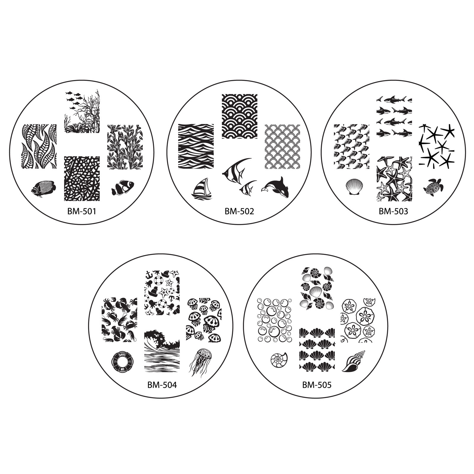 Bundle Monster 10pc Nail Art Stamping Image Plates