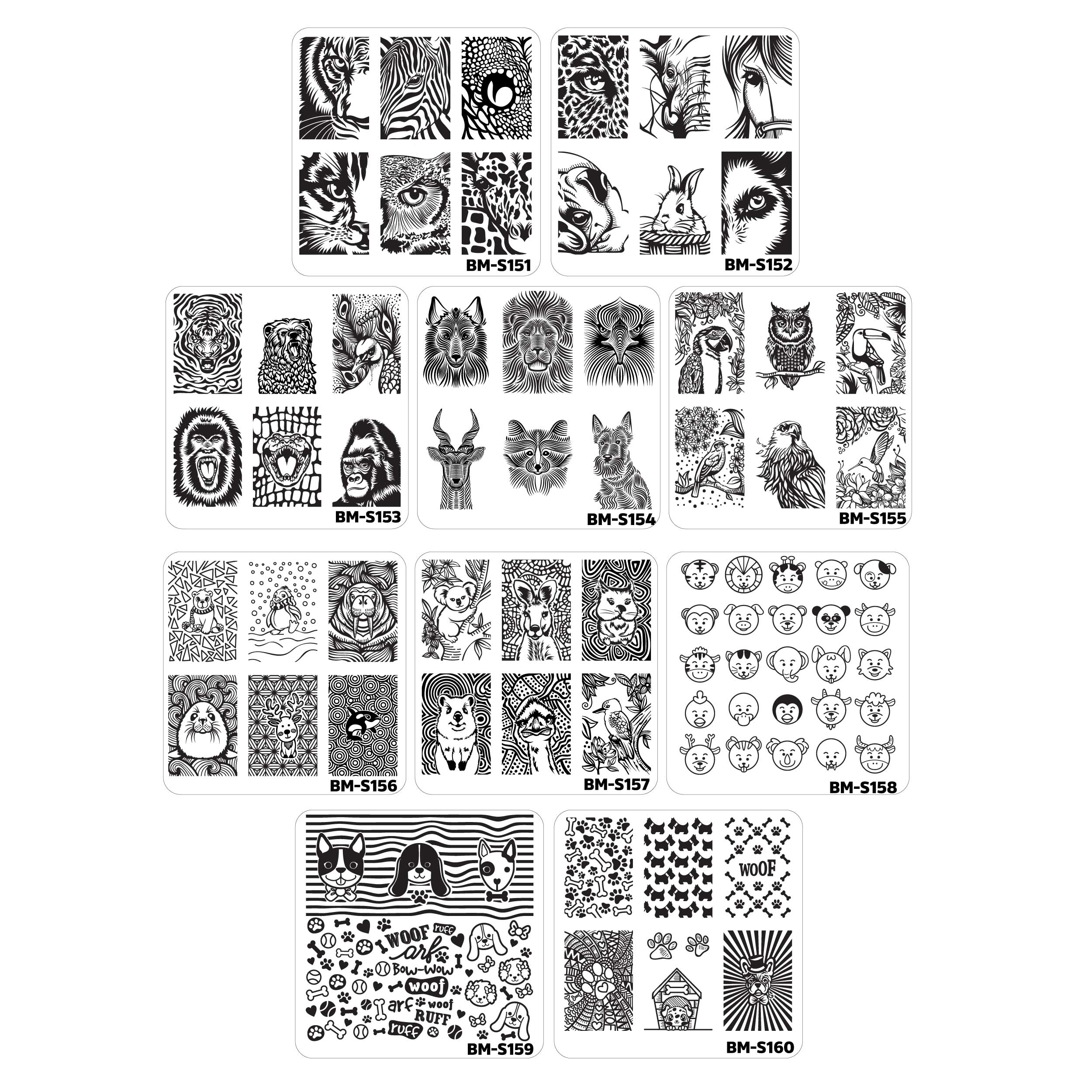 Bundle Monster 10pc Nail Art Manicure Stamping Plates