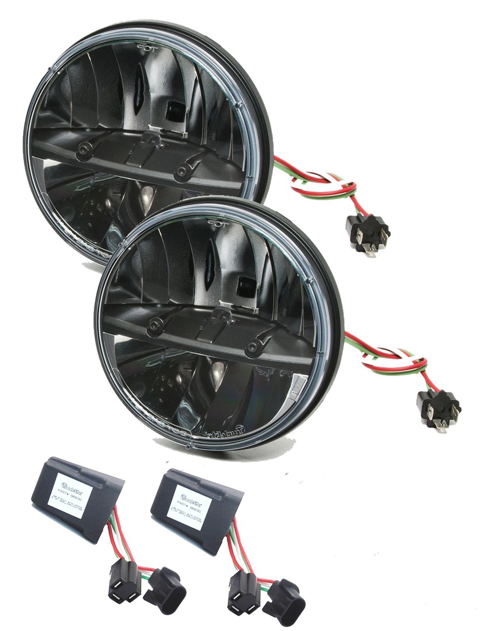 "Truck-Lite 27270C Jeep JK Kit 7"" Round LED Headlight Pair & Anti-Flicker  Harness | eBay"