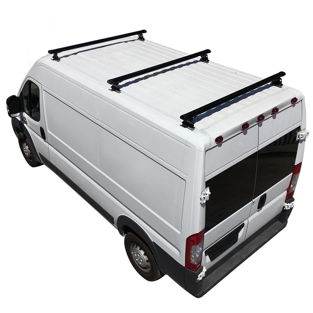 Black Aluminum H3 3 Bar Cargo Van Ladder Roof Rack With