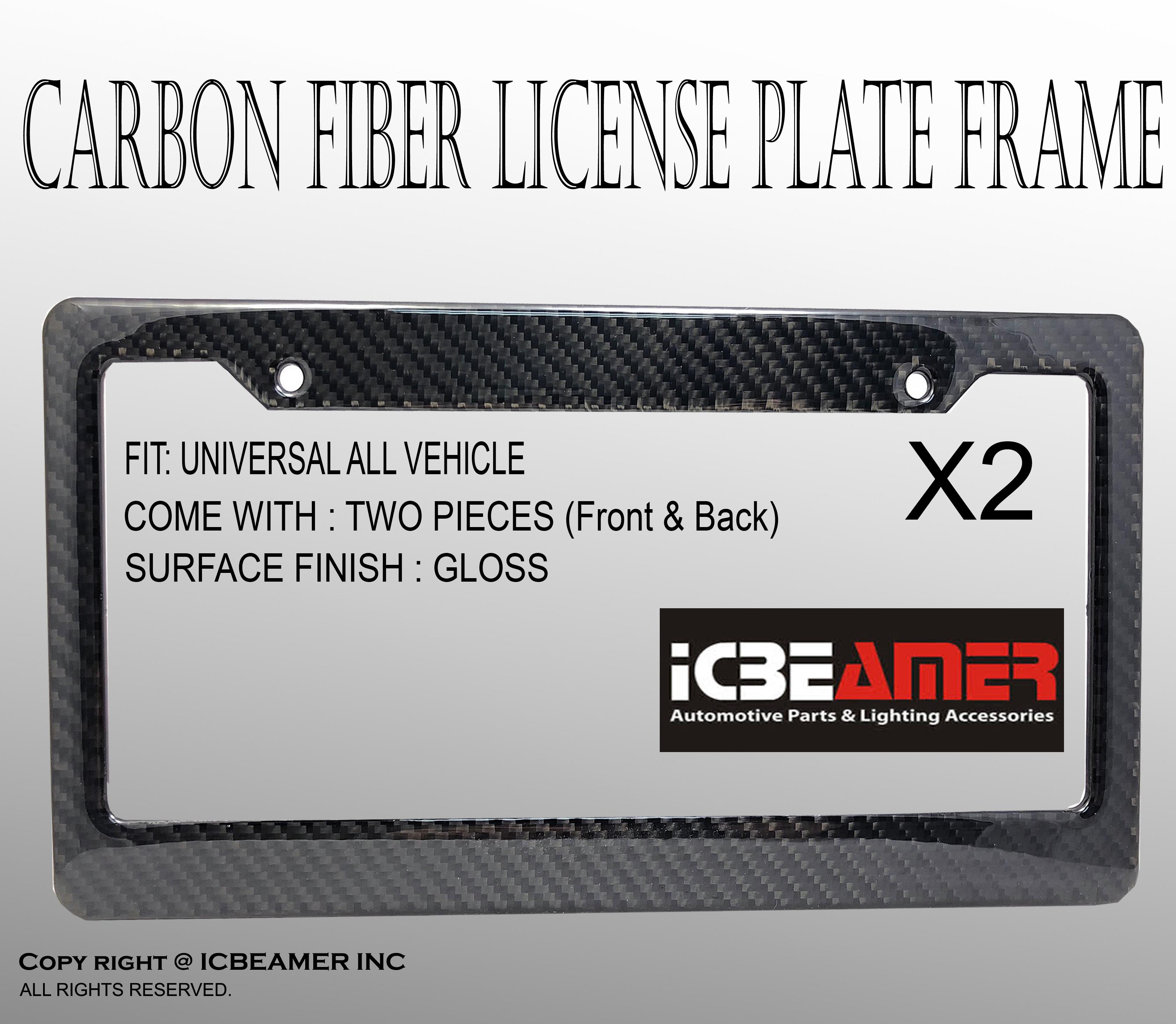 JDM 2 pcs Black Carbon Fiber Custom License Plate Snap Frame Auto ...