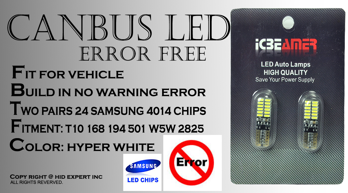 4pc T10 Canbus 24 Led Samsung Chip White Interior Stock Map Dome How To Build Courtesy Light Picture 2