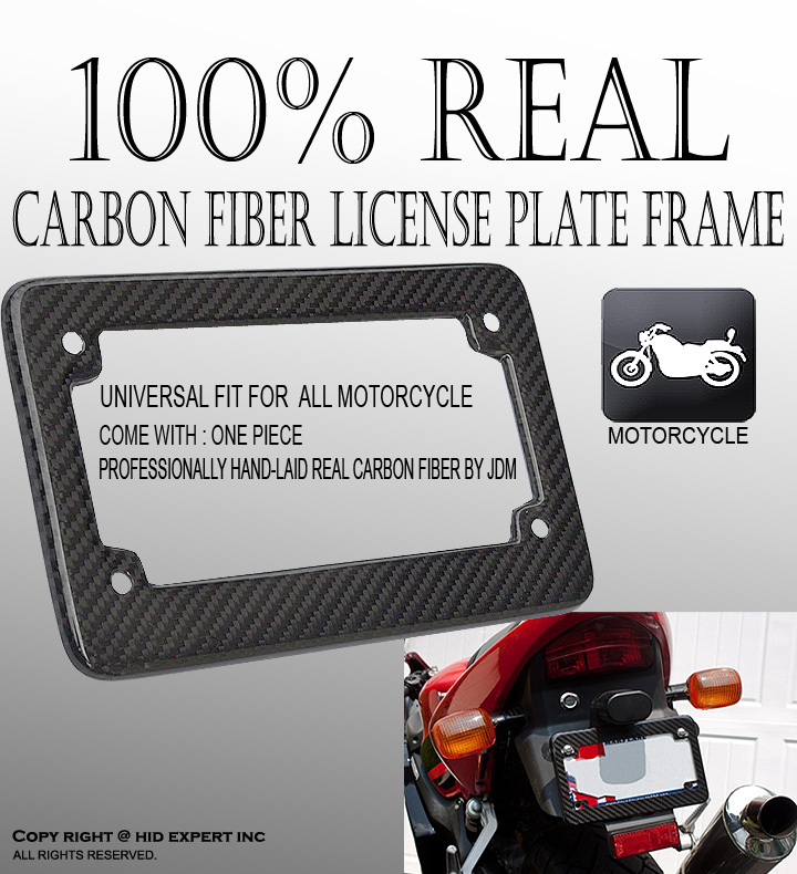 JDM Carbon Fiber Motorcycle License Plate Frame Custom Fit Water Sun ...