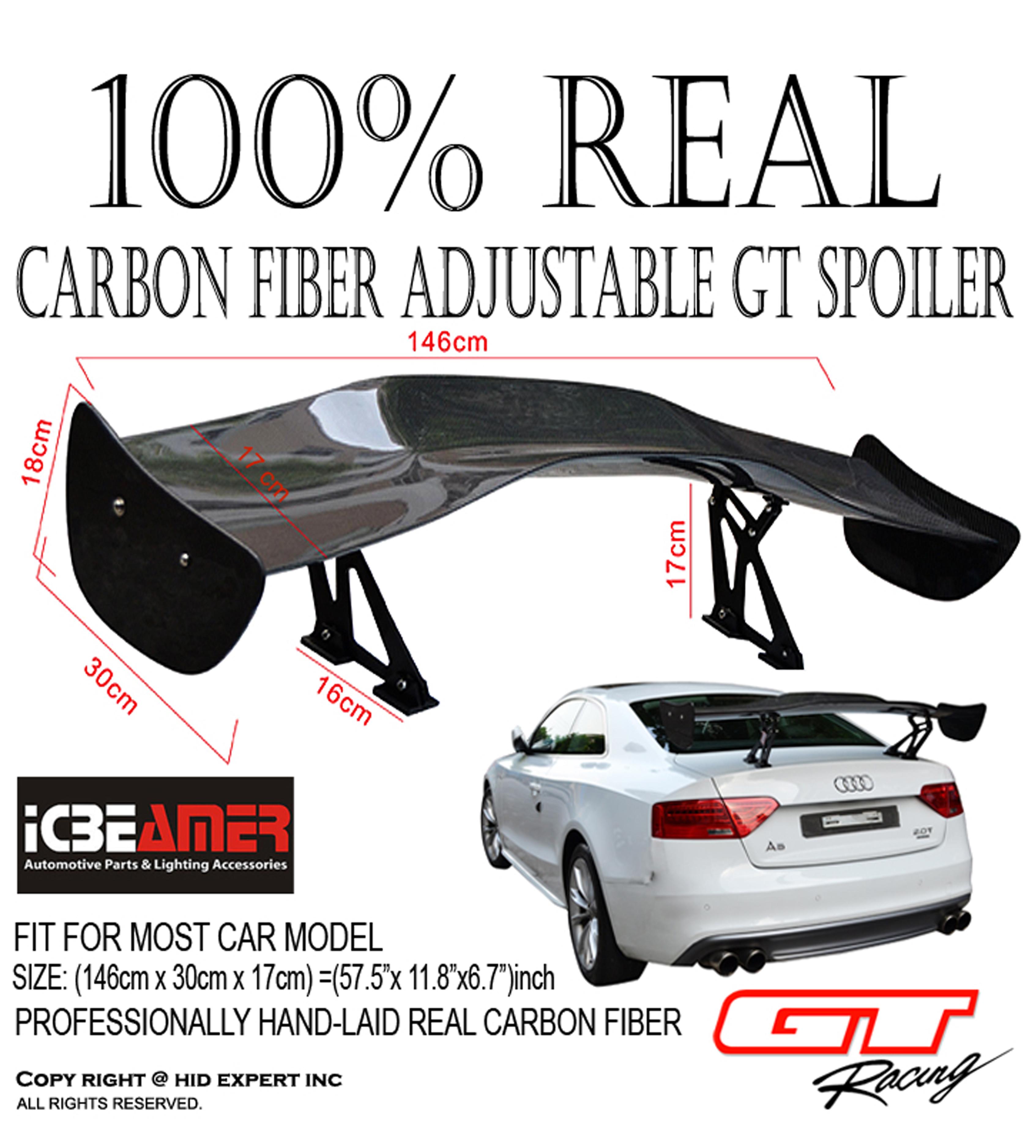 cad691171c44 JDM CARBON FIBER GT STYLE 58 inch RACING REAR BACK TRUNK SPOILER WING -  ICBEAMER