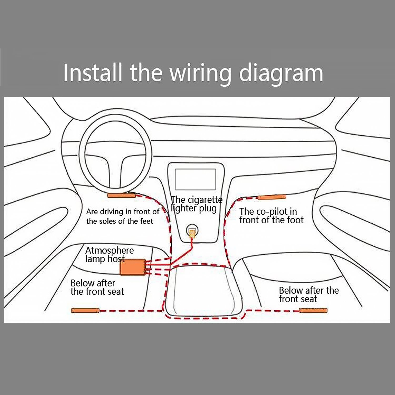 Bluetooth Wireless Music APP Control Car Interior RGB LED Neon Strip ...