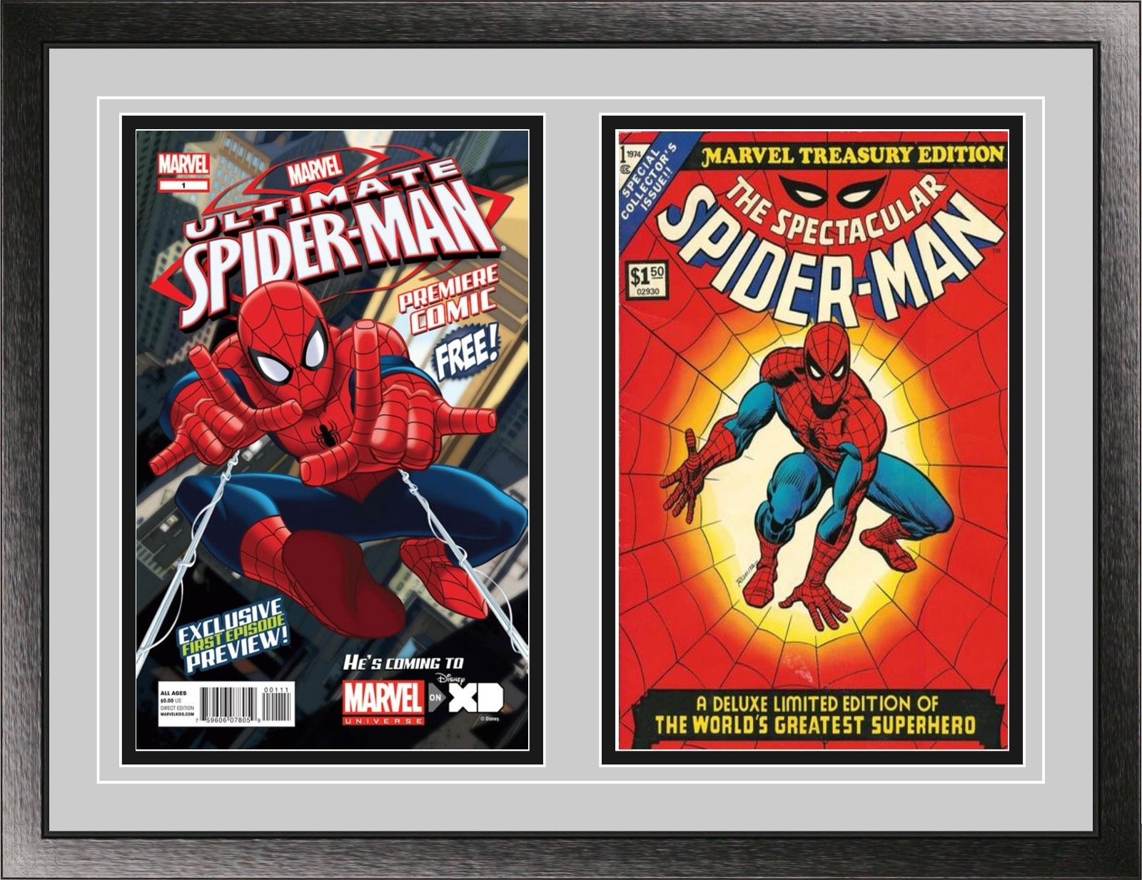 Current Double Comic Book Black Wood Glass Wall Showcase Frame ...