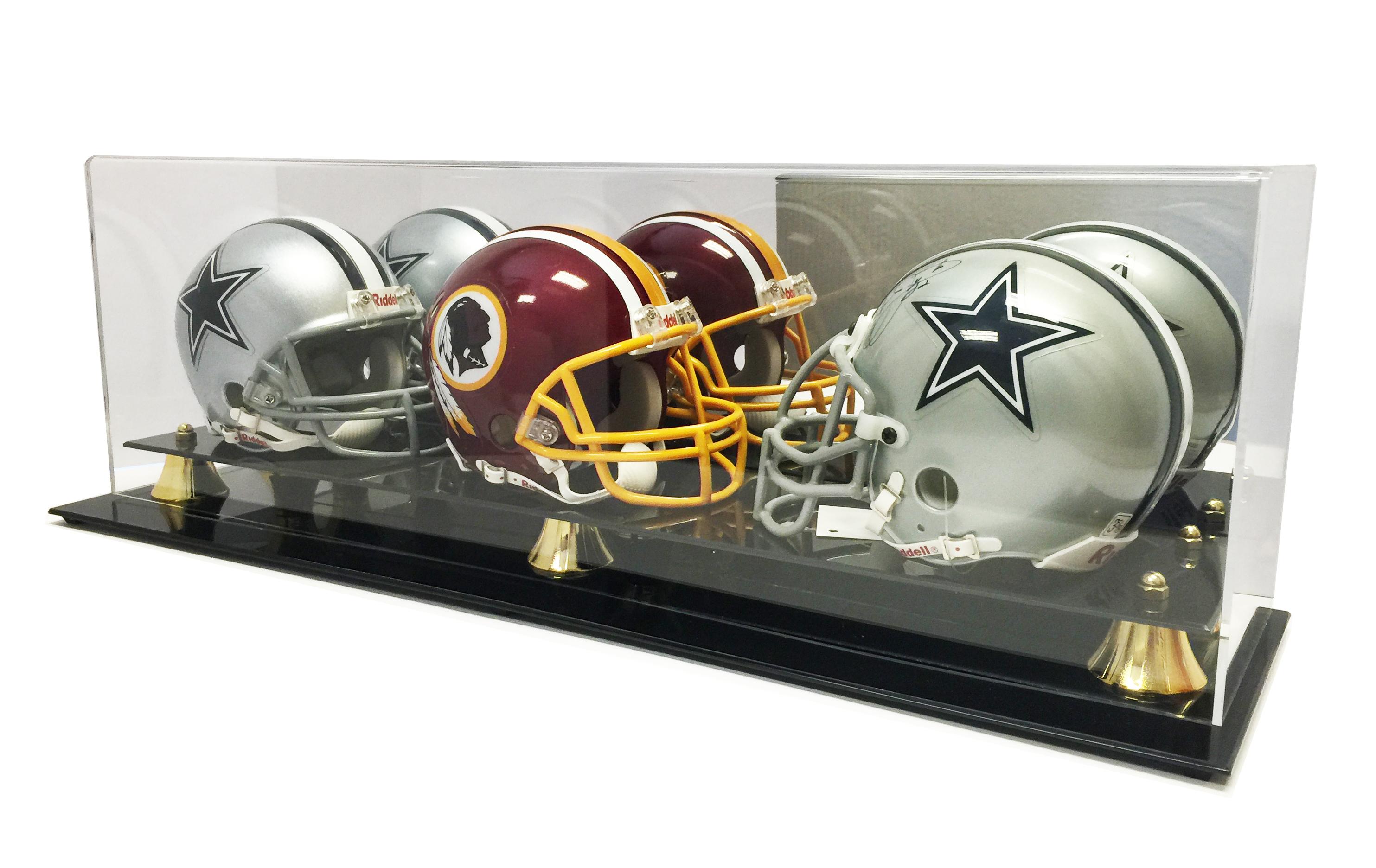New Triple Football Mini Helmet Display Case with Mirror ...