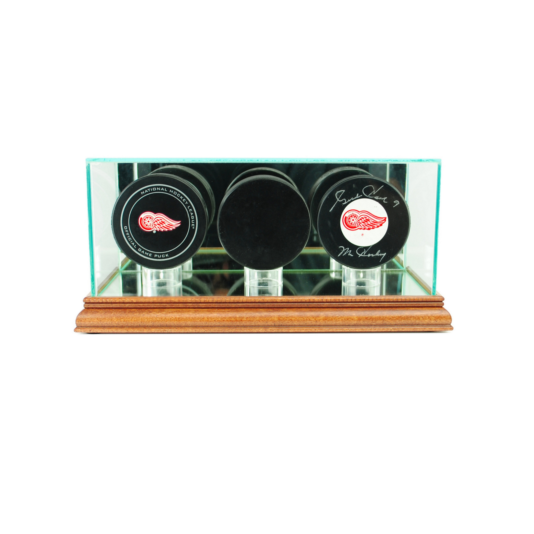 GLASS TRIPLE HOCKEY PUCK DISPLAY CASE UV PROTECTION WALNUT