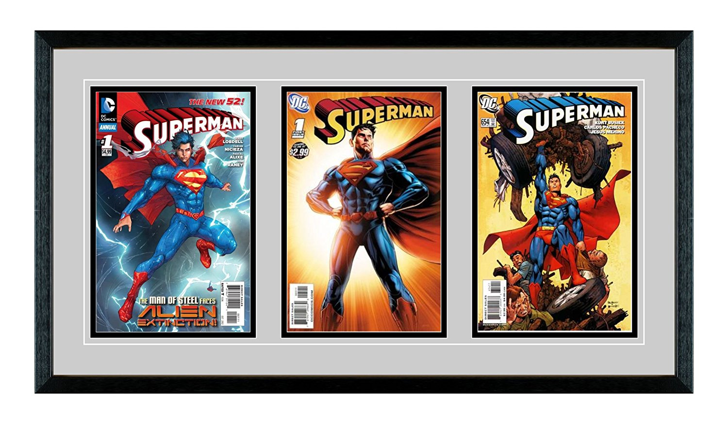 Triple Comic Book Glass Frame - Real Wood / Matting and UV Protected ...