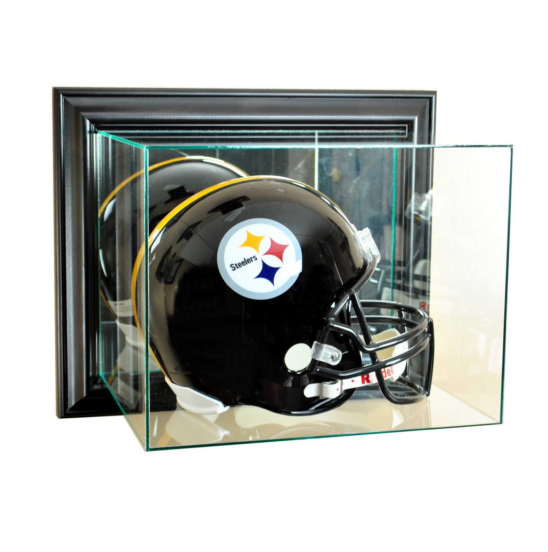 WALL MOUNT UV REAL GLASS FULL SIZE FOOTBALL HELMET DISPLAY ...