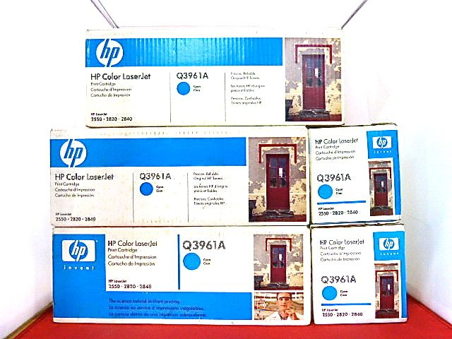 Lot 5 Q3961A 122A Genuine HP Cyan Toner Color LaserJet 2500L 2550LN 2550 ^