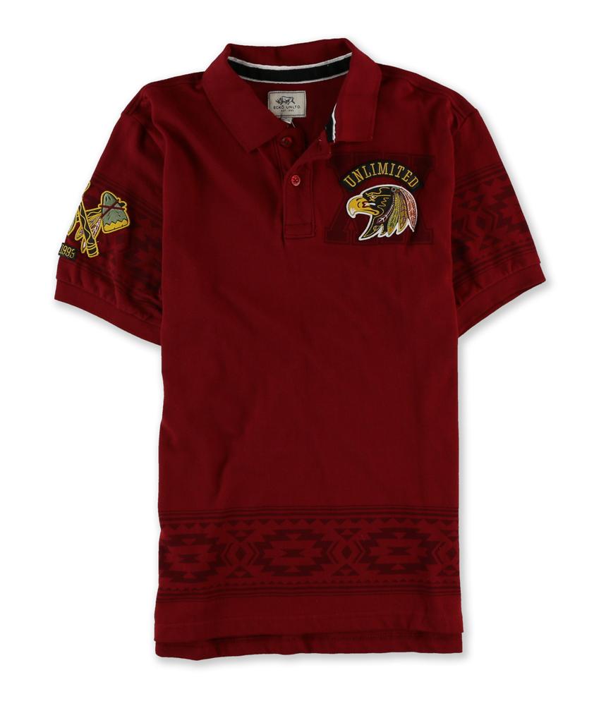 Ecko Unltd. Mens Tribe SS Rugby Polo Shirt Crimsonrd XS