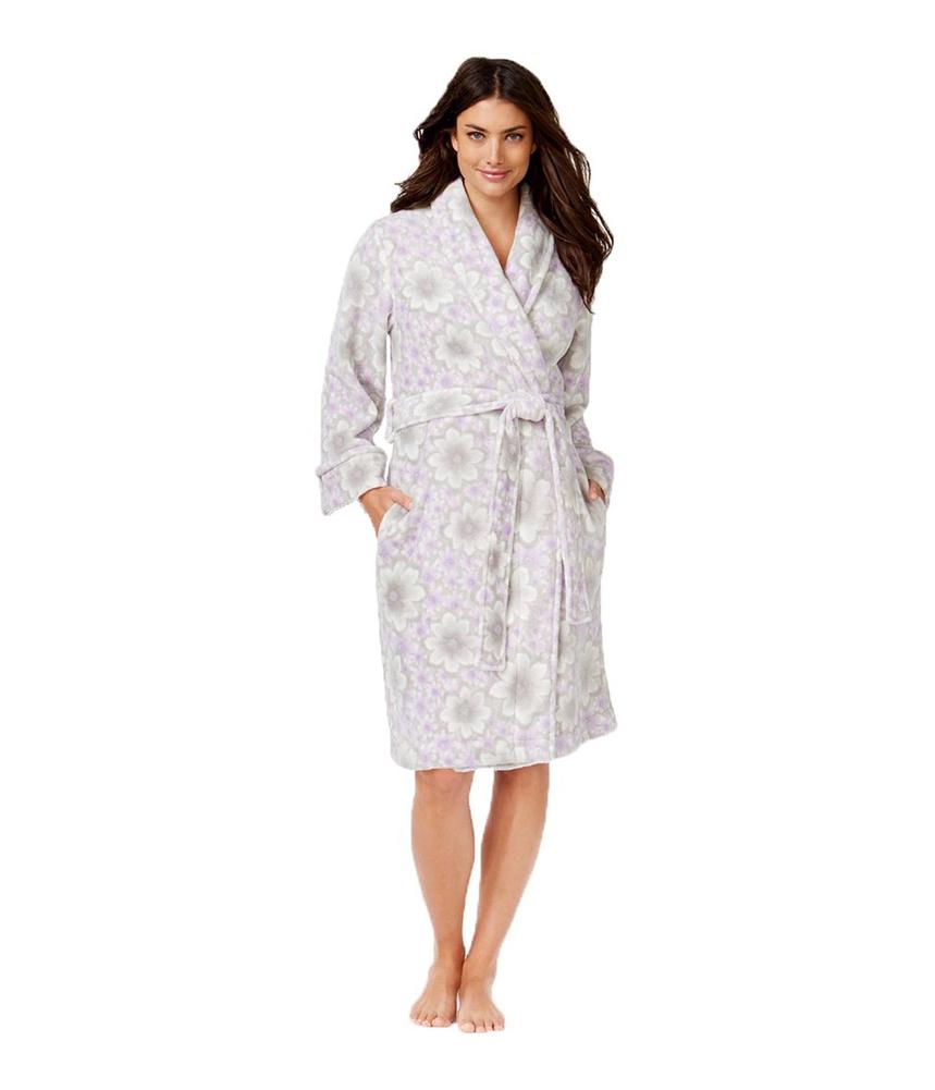 Charter Club Womens Soft Floral Robe Purplegarden 3XL