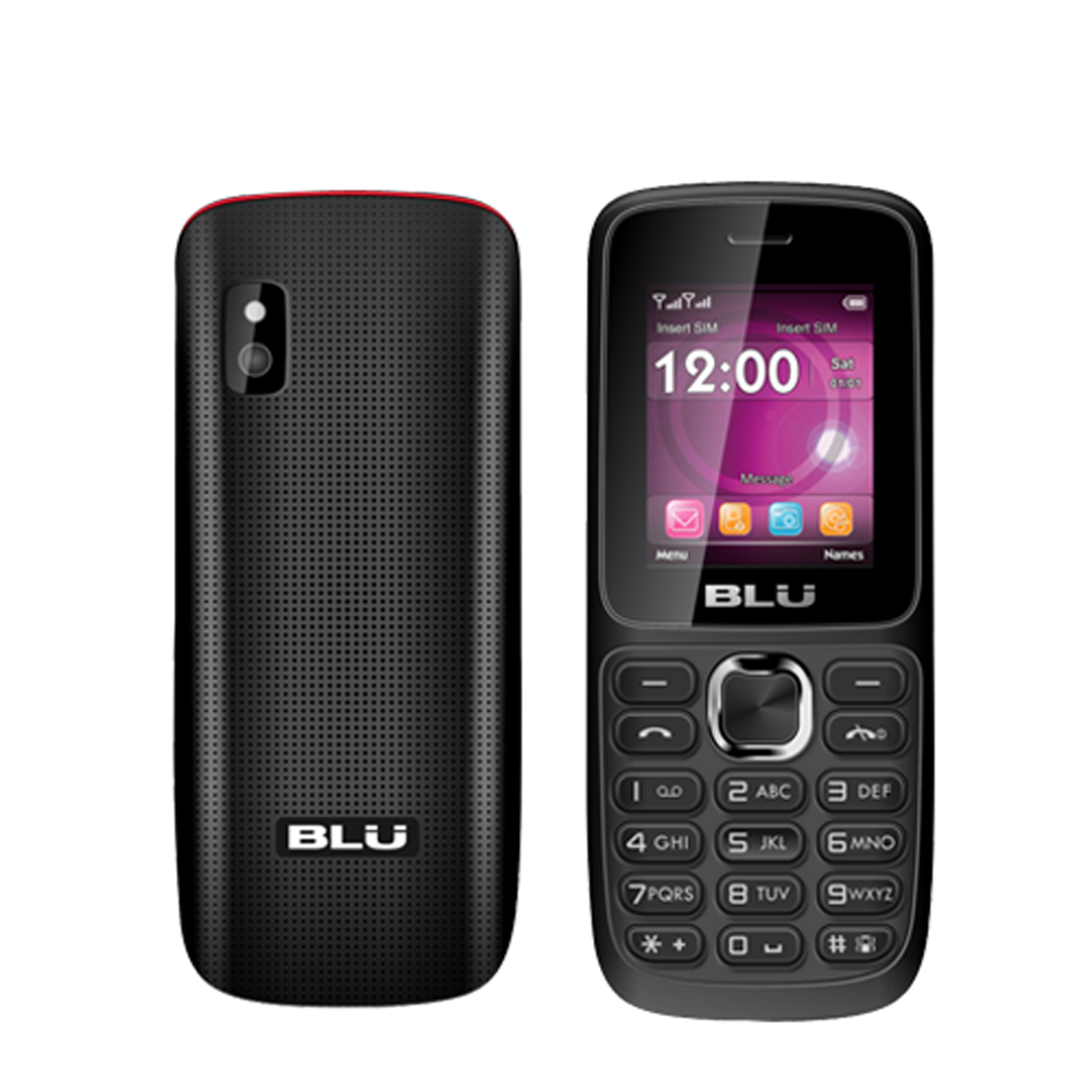 BLU Aria T174 Black Red Unlocked GSM Dual SIM QuadBand Bar Cell Phone