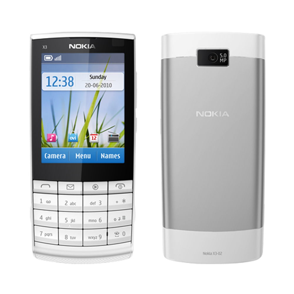 Nokia Touch and Type X3-02 White Silver WiFi Unlocked 3G Cell Phone