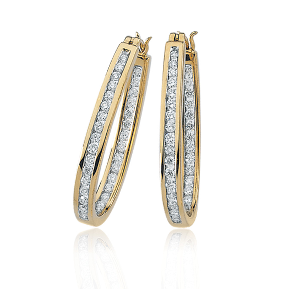 1 Cttw, Channel Set Diamond Hoops - 14k Yellow Gold