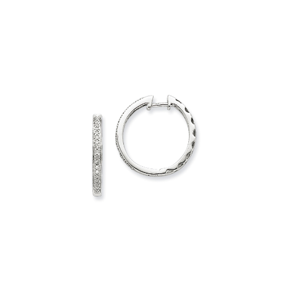 .15 Carat Diamond Round Hoop Hinged Earrings in Sterling Silver - 20mm
