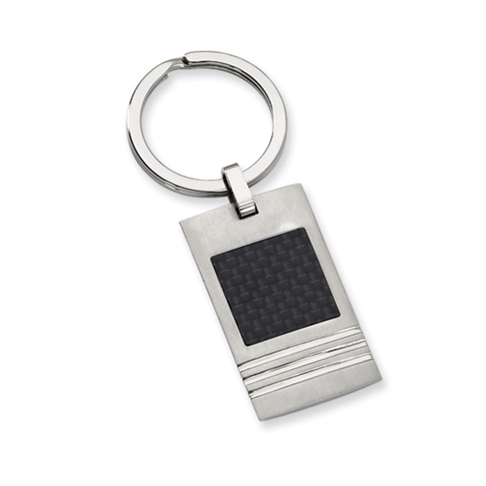 Mens Stainless Steel and Black Carbon Fiber Key Chain
