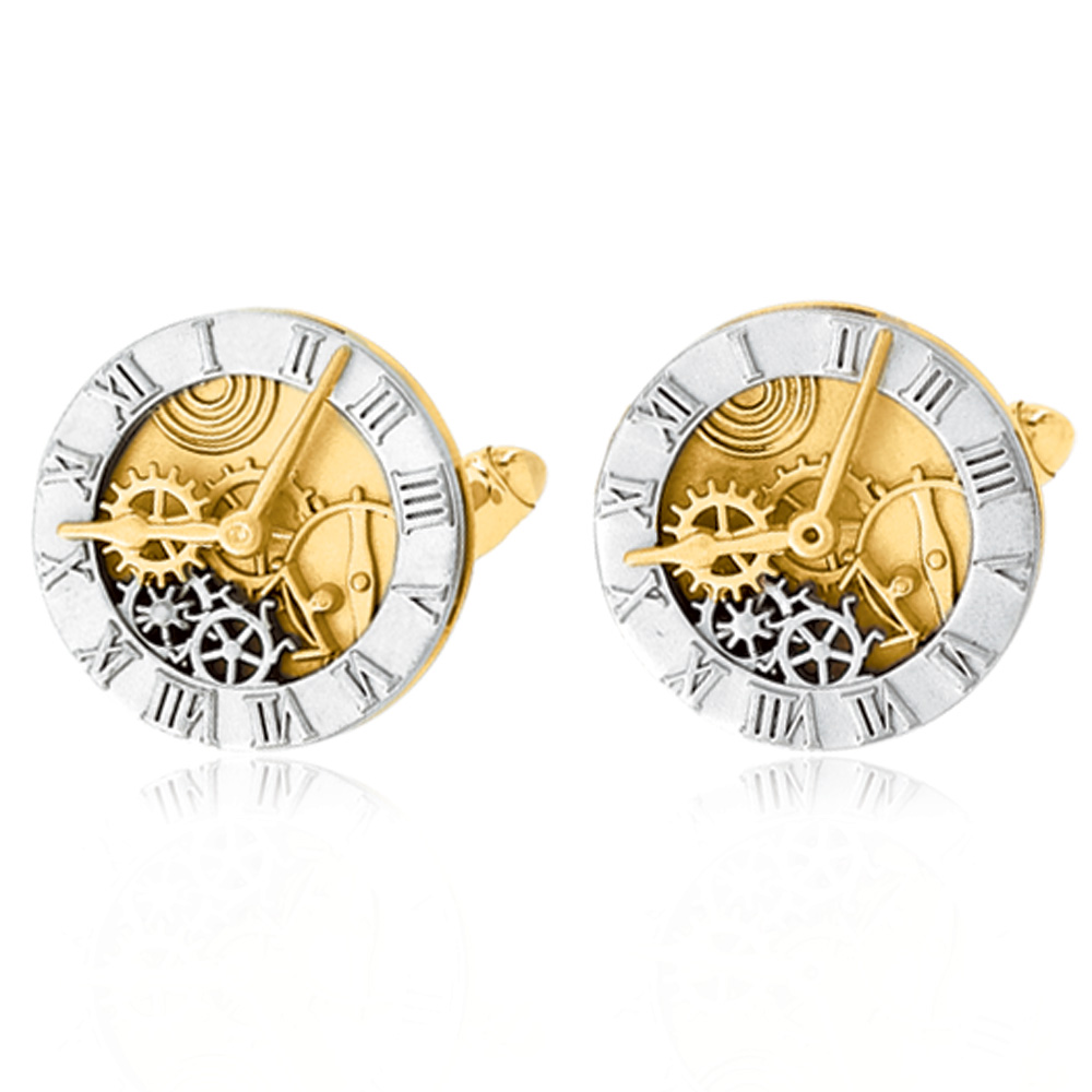 Men's 14k Yellow and White Gold 9.5mm Watch Dial Cuff Links