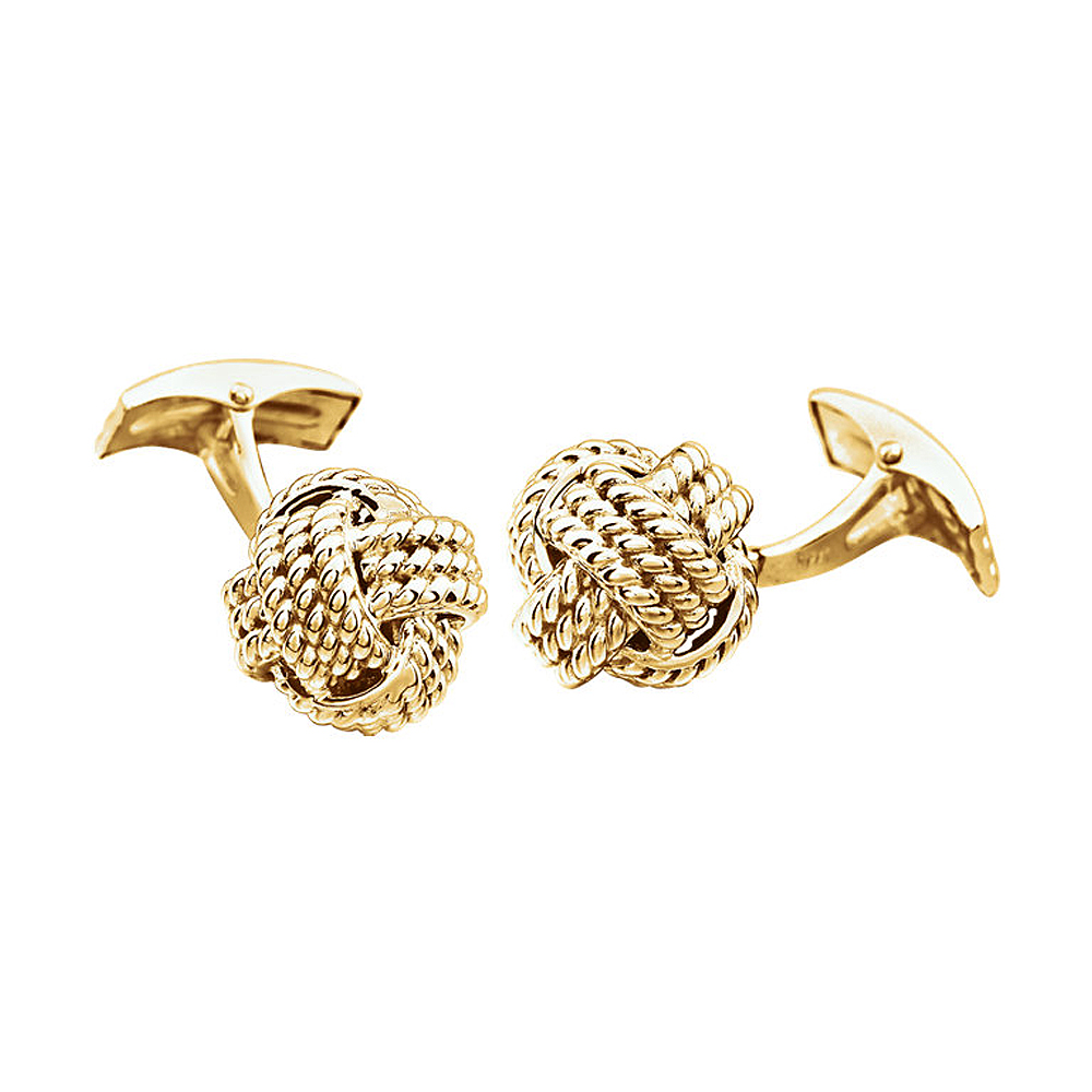 Men's 14k Yellow Gold 15mm Textured Knot Cuff Links